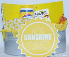 Bucket of Sunshine for the classroom! So many YELLOW school supplies out there! u-createcrafts.com