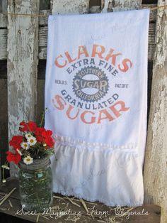 Flour Sack Kitchen Towel  Vintage Style by SweetMagnoliasFarm,