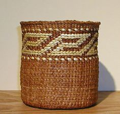 """CEDAR BARK BASKET""  Delores Churchill  Red & yellow cedar, sun bleached grass"