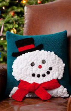 Snowman Pillow: #knit #knitting #free #pattern #freepattern #freeknittingpattern #knittingpattern