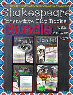 Shakespeare: Interactive Layered Flip Books Bundle -Macbeth, Othello, Hamlet, and Romeo and Juliet ($)