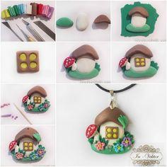 How to Make Cute Mushroom House Clay Pendant...so darn cute!