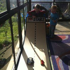Lego built car race track