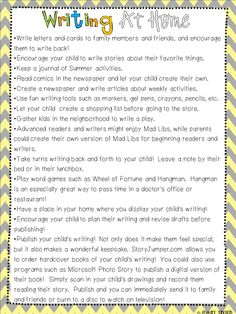 Writing at Home - Parent Handout