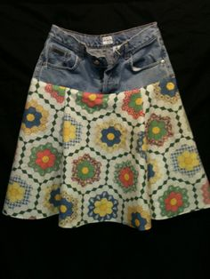 upcycled jean skirt -- cute idea for reusing the jeans that O gets too tall for, and causes too many holes to give away...but can still fit in the waist