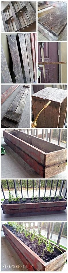 Old wood pallet made into a patio herb garden! | World In Green. For the strawberries that are not going to live much longer unless I do something.