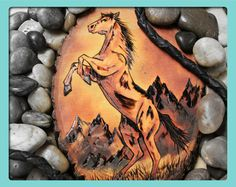 Wood Burned Horse Plaque- Like the mountains!