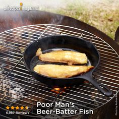 """""""This is a super easy and fast—not to mention cheap and no-mess—way to make a beer batter for your fresh fish while camping. It uses just beer, fish, oil for your skillet, and pancake-mix containers.""""-PSYCHOSKITCHIN"""