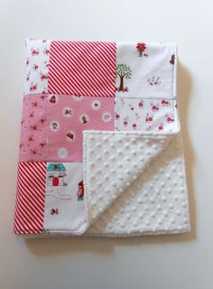 Minky Patchwork Baby Girl Blanket Quilt Riley Blake Little Red Riding Hood Red White--Made to Order. $50.00, via Etsy.
