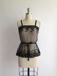50s GLYDONS black lace camisole with attached by CultOfChiffon, $40.00
