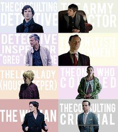 Sherlock, John Watson, Lestrade, Mycroft, Mrs. Hudson, Molly Hopper, Irene Adler, Jim Moriarty.