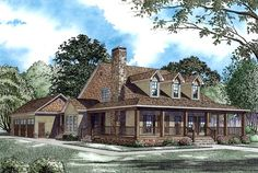 sort of a log cabin look to this one, very pretty! and it has my big 'ol porch!! House Plan 62207 at FamilyHomePlans.com