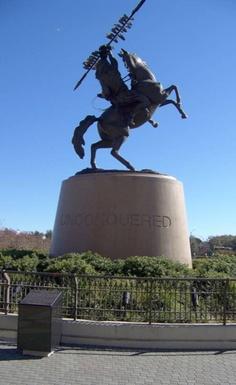 FSU Seminoles - Unconquered statue of Chief Osceola on Renegade at Doak Campbell Stadium football