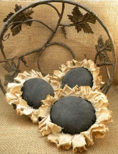 muslin prims, primit sunflow, primit decor, primitive flowers, primit craft
