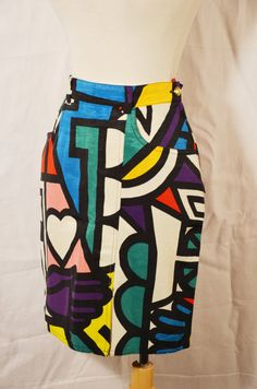 Vintage 80s Moschino Jeans Graphic Pattern by PapillonVintageShop