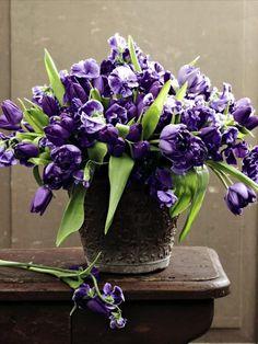 Purple tulips and sweet peas.