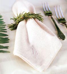 #green wedding table ... napkin / place setting