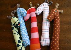 perfect baby gift: handmade giraffe rattles... UH LOVE!