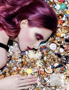 Jewels and jewelry!  Pins, brooches and things.  Julia Zakharova by Jamie Nelson for Russian Tatler July 2011