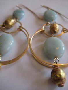 Amazonite and gold mala swing hoops