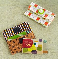 Stitch gift-card holders that give a hint of what's inside.