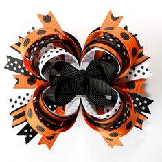 Happy Halloween Orange Black Polka Dots Stripes Stacked Hair Bow