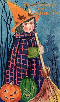 Little girl with a broomstick vintage Halloween postcard