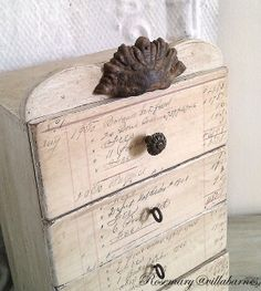 DIY Decoupage vintage letter paper drawers.