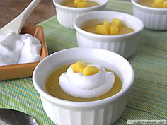 Mango Pudding with Mousse Topping (all sugar-free and dairy free)