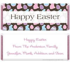 Easter Bunnies and Eggs Background Candy Wrappers for 1.55 oz Hersheys Candy Wrappers