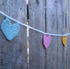 knitted string of hearts