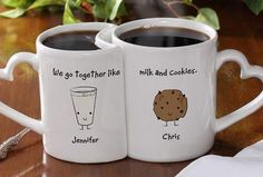 I don't like that the mugs fit together, but I do like the print peanuts, cups, valentine day, gift ideas, coffee, jelly, peanut butter, wedding gifts, mugs