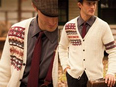 men's cardi with splashes of colourwork - vogue knitting winter 2010-2011 issue