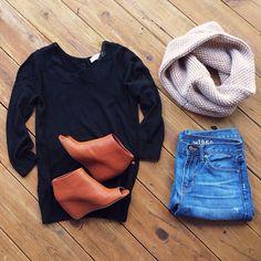 Cozy fall attire.