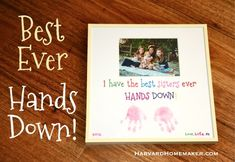 Best Ever, Hands Down!  A simple, cute gift idea for Mother's Day, Father's Day, a birthday, etc.  See how I transferred the letters to the matting in the post--easy!  #gifts #DIY #harvardhomemaker
