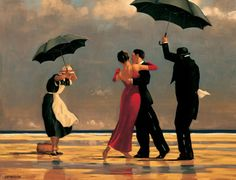 singing, umbrella, art prints, famous artists, sing butler, paintings, jack vettriano