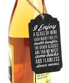 Look what I found on #zulily! 'I Enjoy a Glass' Chalkboard Wine Tag #zulilyfinds