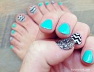 fun turquoise, black, white, glitter, chevron stripe nails - fingers and toes - manicure and pedicure