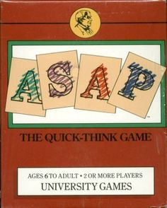 ASAP: The Quick-think Game (Card Game) - you have a set of alphabet cards and a set of category cards. Whoever can name an item from a category that starts with the target sound, gets the cards. Great for word retrieval!