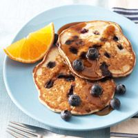 Blueberry Buckwheat Pancakes    Buckwheat, a whole grain in these delicious pancakes, contains a phytochemical that might have a beneficial effect on blood glucose levels. Ready in 30 minutes, with few ingredients, this low-fat, low-sodium breakfast or brunch recipe is suitable for diabetic meal plans.