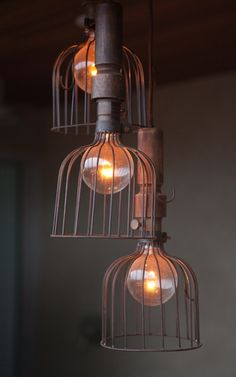 Caged industrial lamps