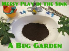 messy play in the sink -dirt and bugs