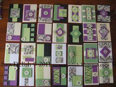 sample of 28 Cards made with 4 Sheets of paper .... CUTTING GUIDE in blog post