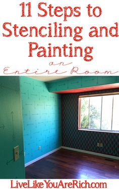 How to Paint and Stencil an Entire Room, lots of photos and step by step instructions.