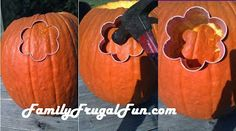 Carving pumpkins with cookie cutters!