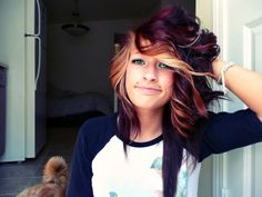 My hair is going to look like this. YES. <3 #blonde #red #burgundy #curls #short #inlove #LOVE #bangs