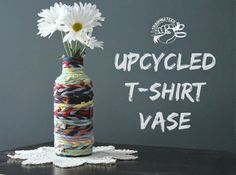 Upcycled T-shirt Vase Tutorial includes #HOWTO make continuous tshirt yarn from scrap fabric- #repurpose #reuse #tshirtupcycle #