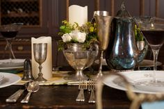 Vintage-Silver-Containers-Centerpiece idea of a grouping of small arrangements like this