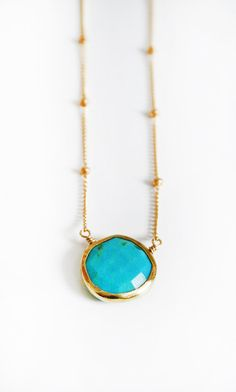 TURQUOISE coin bezel necklace by shopkei on Etsy, $49.00