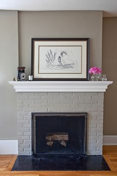 wall colors, paint brick, grey walls, living rooms, painted fireplaces, brick fireplac, paint colors, fireplace wall, fireplace makeovers